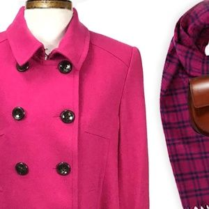 Pink Wool Blend Double Breasted Wool Pea Coat XL